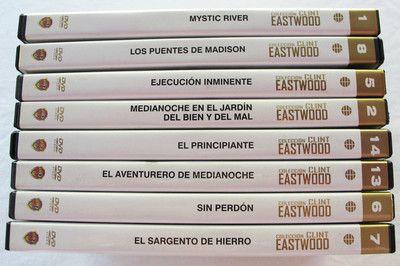 LOTE 8 PELICULAS DVD CLINT EASTWOOD/MISTIC RIVER/PUENTES MADISON/ETC.MIRA FOTOS