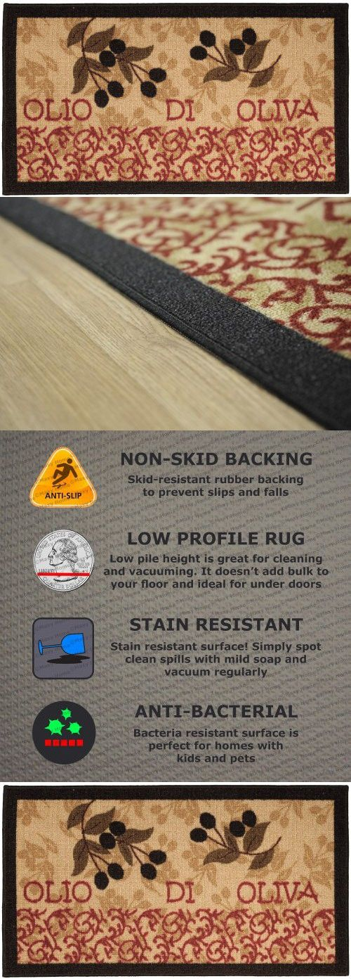 Anti-Bacterial Rubber Back Home and KITCHEN RUGS Non-Skid/Slip 3x5 | Italian Olive Garden | Decorative Runner Door Mats Low Profile Modern Thin Indoor Floor Area Rugs for Kitchen