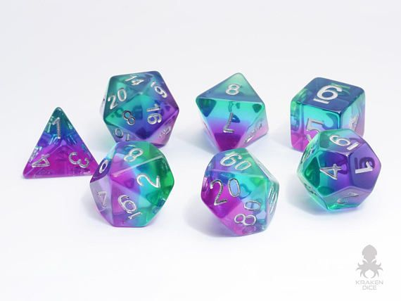 7 Piece Mermaid Glass Polyhedral Dice Set With Velvet Dice Bag