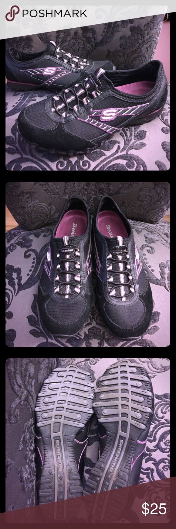 Black & Lavender No Lace Skechers Sneakers Black & Lavender No Lace Skechers Sneakers - Only Worn Once or Twice, Great Condition! Skechers Shoes Sneakers
