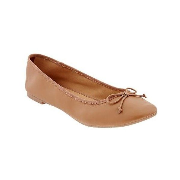 Old Navy Womens Faux Leather Ballet Flat ($15) ❤ liked on Polyvore featuring shoes, flats, brown, brown flat shoes, old navy, brown ballet flats, ballet pumps and ballerina pumps