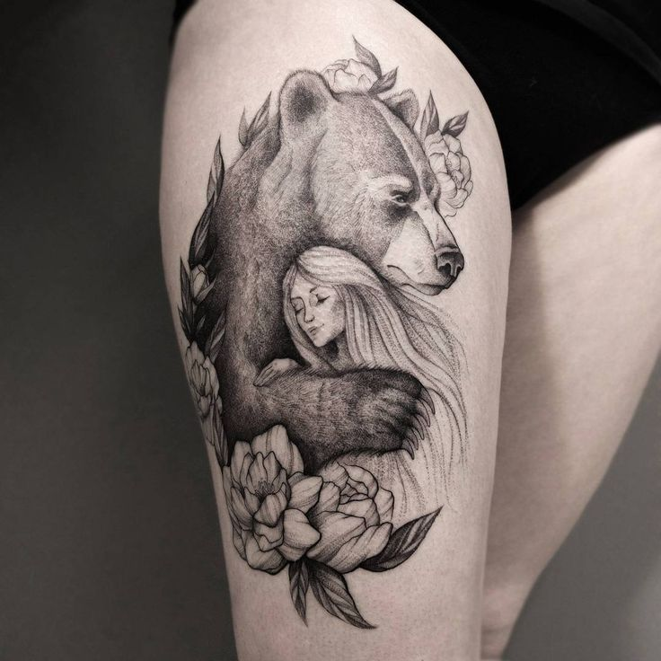 pretty hug of bear and girl   tattoo on hip by ira_deer
