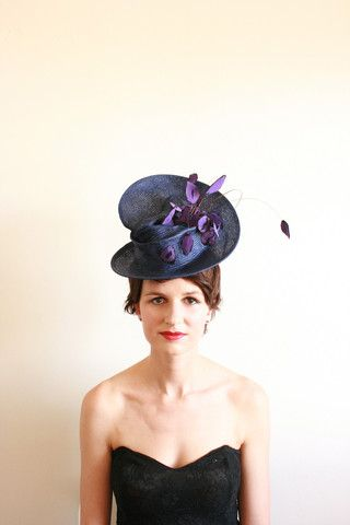 "Natalie Chan Couture millinery, ""Besame Mas"" in Navy! Silk purple printed lips on this hat! x"