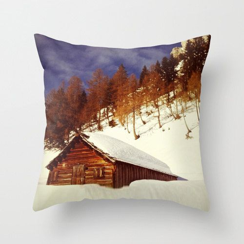 Ski Hut in the Alps, Pillow Cover by BacktoBasicsPillows on Etsy