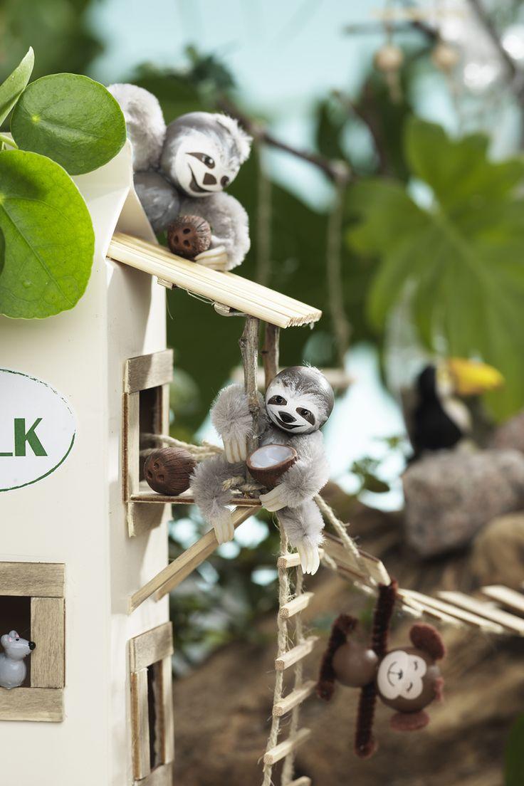 Miniature sloth www.panduro.com #DIY #caravan #animal #beach #fimo #clay #wooden figures #camping #recycle #recycling #milk #sengångare #miniatyrer #mini #lera