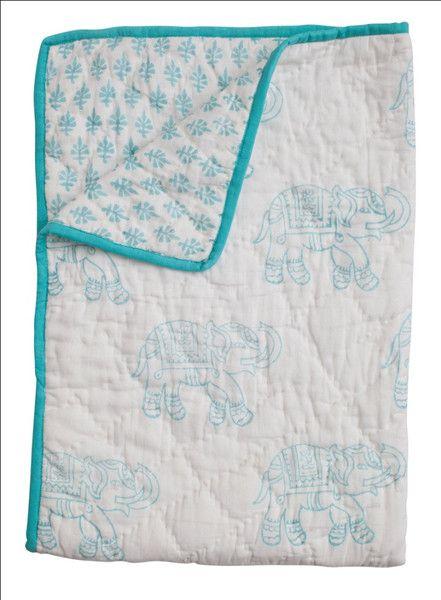 Amazing baby blanket with block printed elephants