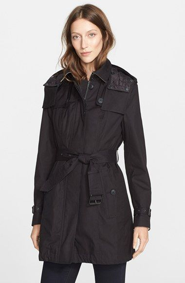 Burberry Brit 'Fenstone' Single Breasted Trench Coat with Detachable Hood & Liner | Nordstrom