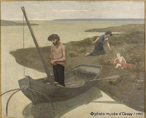 Pierre Puvis de Chavannes - Le pauvre pêcheur 1887-1892 - huile sur toile, National Museum of Western Art Tokyo. Signé bas droit. Annonce le mouvement symboliste.