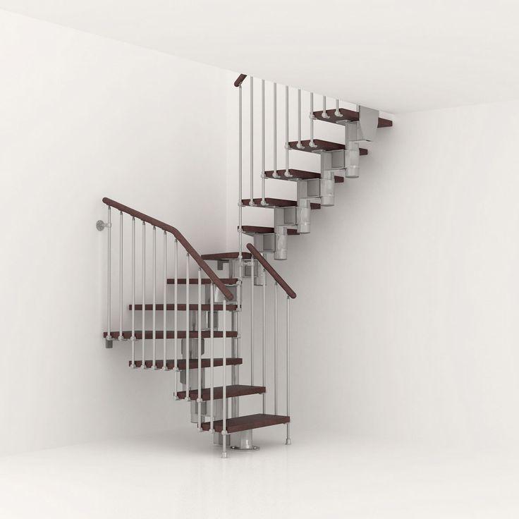 Escalier modulaire Long, marches bois/ structure métal chromé | Leroy Merlin