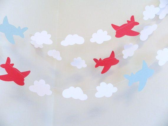 Avion & nuages papier guirlande - anniversaire de garçons Decor - avion anniversaire décor-10 ft bébé douche Decor - Decor anniversaire-votre choix de couleur