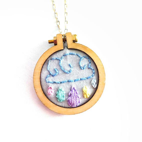 Miniature Embroidery Cloud And Rain Necklace, Rain Jewelry For Sisters Birthday Gift, Embroidery Hoop Jewelry For Her, Cross Stitch Pendant #BohemianSummerTales #miniatureembroidery #handstitchednecklace #hoopnecklace