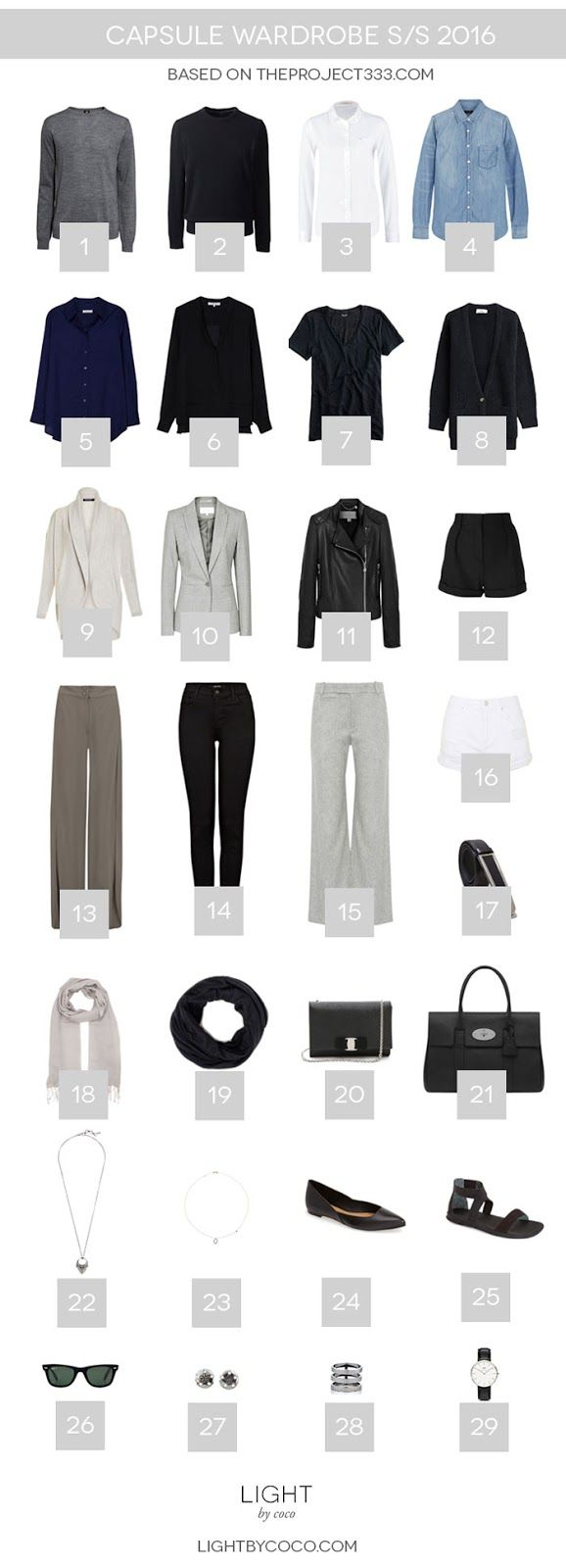 """Light by Coco capsule wardrobe S/S 2016 (""""This season I will be on the lookout for a cool piece of statement jewelry, a patterned scarf, or a summer-y purse during my travels."""") #wardrobeessentials #howtowear"""