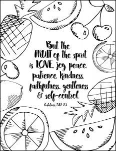 http://ColoringToolkit.com --> Fruit of the Spirit Free Coloring Page --> For the most popular adult coloring books and supplies including colored pencils, gel pens, watercolors and drawing markers, logon to our website displayed above. Color... Relax... Chill.