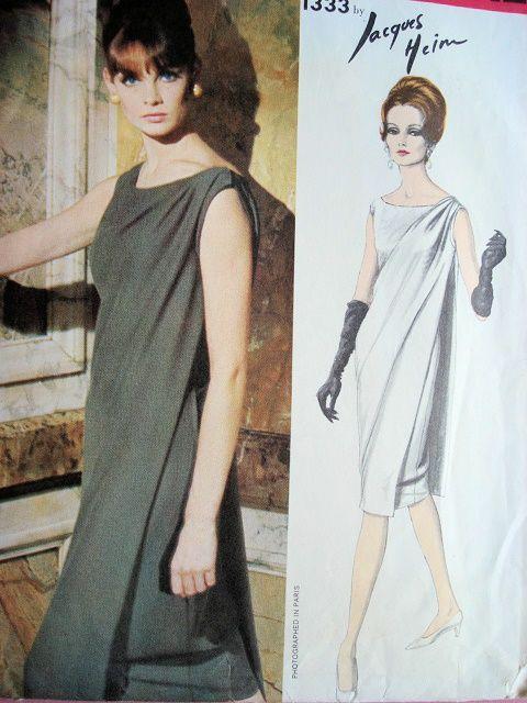 1960s Elegant Jacques Heim Evening Cocktail Dress Pattern Vogue Paris 1333…