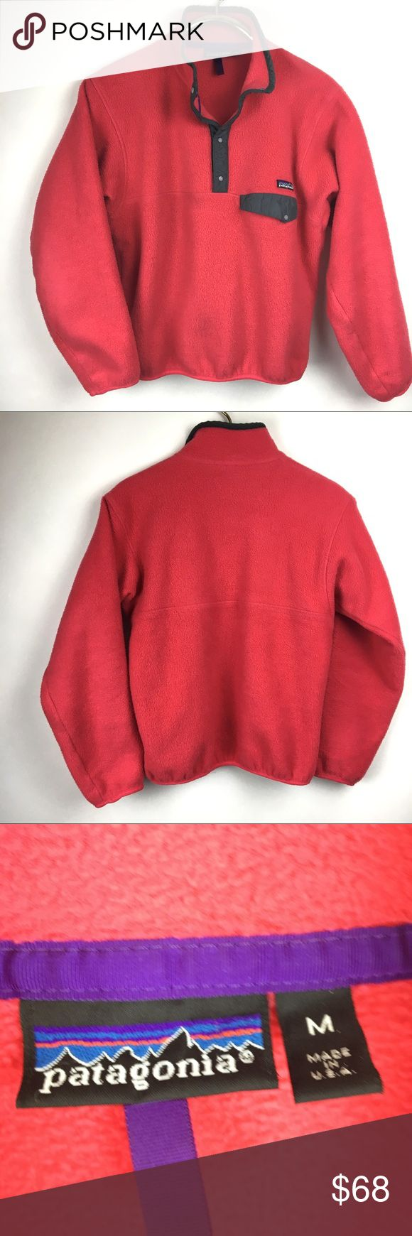"""Patagonia Synchilla Snap Pullover Patagonia Women's Lightweight Synchilla Snap-T Pullover is a midweight fleece for warmth in cool weather. The 100% polyester is soft and classic, with a stand-up collar to warm the neck.  *4-button placket for aiding in quick temperature  *Nylon trim on stand-up collar reinforces classic Snap-T 4-snap placket * pocket at chest with snap closure  Made in USA  Appoximate measurements:  Sleeve 22..5"""" Shoulder to hem 23"""" Armpit x armpit 20.5"""" Patagonia Tops…"""