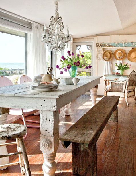 Shabby chic distressed painted furnishings in a beach cottage: http://www.completely-coastal.com/2015/08/small-shabby-chic-beach-cottage-FL.html
