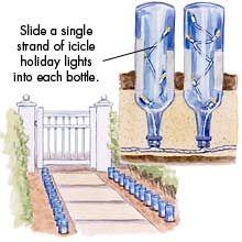 Blue bottle lights for the garden path