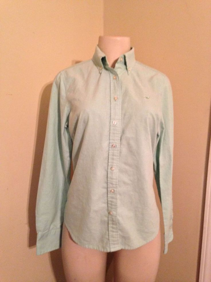 Womens vineyard vines mint green long sleeve oxford button for Preppy button down shirts