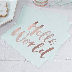 JUST ADDED - Itty Bitty Baby Shower Hello World Rose Gold Foil Paper Napkins   VIEW HERE: