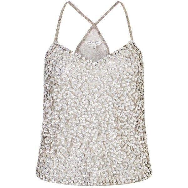Miss Selfridge Silver Multi Beaded Camisole Top (71 ILS) ❤ liked on Polyvore featuring tops, silver metal, white camisole, silver camisole, silver cami, white beaded top and beaded cami