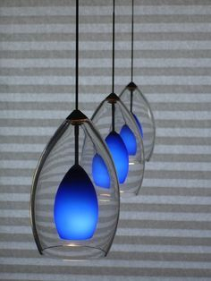 Three Glass Blue Pendant Light Unique Contemporary Tropical Handmade  Fixture Modern Line Voltage Low