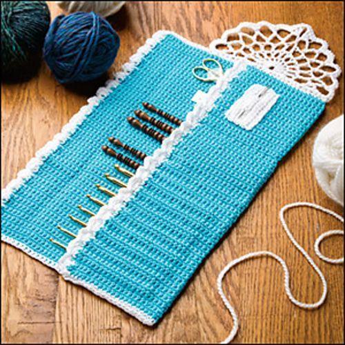Crochet Hook Holder Pattern | Crochet World August 2013: Lace-Trimmed Hook Case pattern by Jennifer ...
