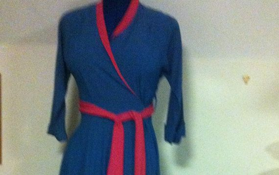 Thirties/ Forties  wrap around floor length turquoise gown with pink collar and sash
