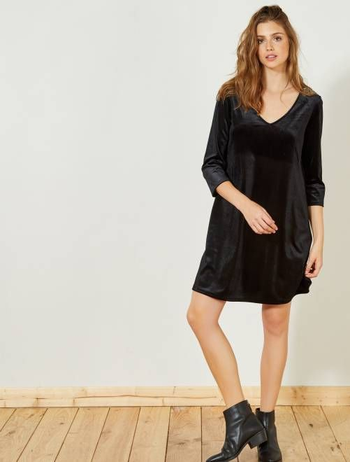 finest selection f9b00 557e9 Abito dritto velluto con gioielli nero Donna - Kiabi ...