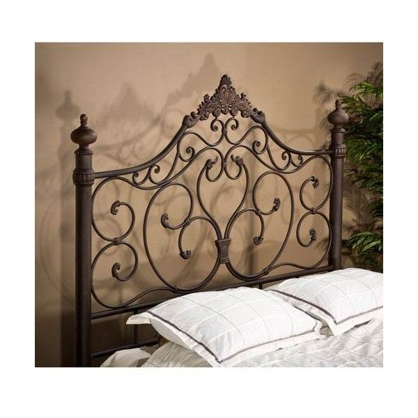 Hillsdale Furniture Baremore Antique Brown King Headboard Only ($479) ❤ liked on Polyvore featuring home, furniture, beds, queen bed, wrought iron queen headboard, brown headboard, queen head board and queen headboard