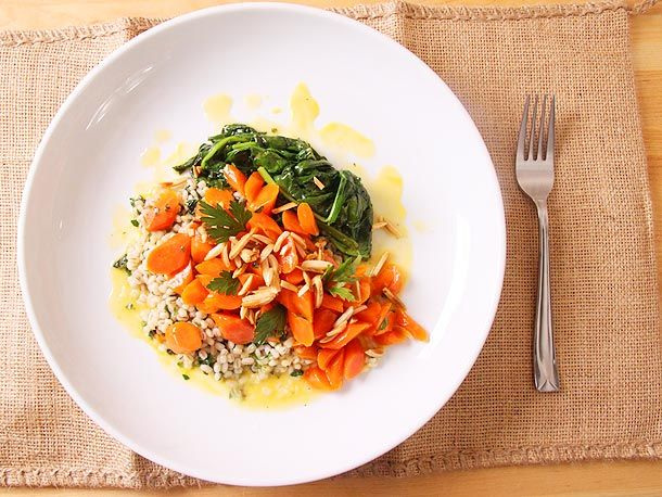 orange glazed carrots with ramp barley and spinach