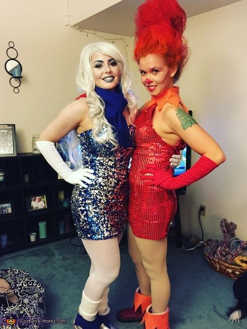 Alison: My good friend Tori is Snow Miser and she's the brains behind this operation. Both sequin dresses, boots, Snow Miser's scarf, and gloves were found at Goodwill, the cuffs for...
