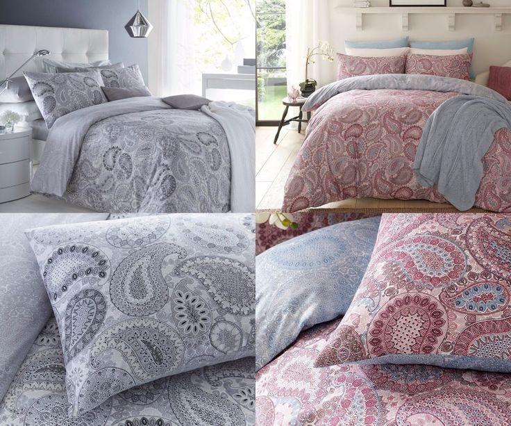 Paisley Grey & Paisley Purple Duvet Cover Sets with Pillow Cases Bedding Set