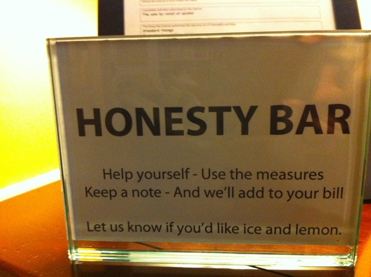 Just what you need when away from home - an honesty bar