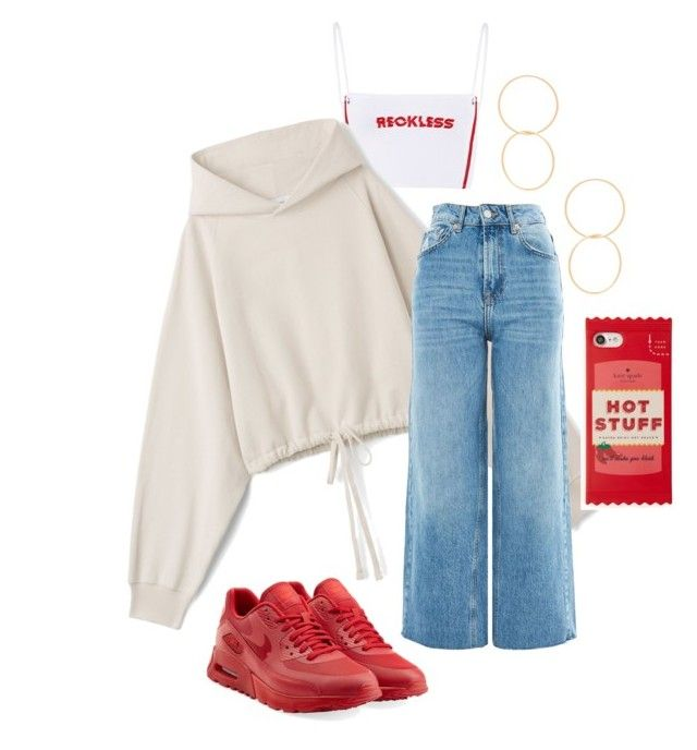 """""""🌶"""" by angelamarkovich on Polyvore featuring Topshop, Ettika, NIKE, Kate Spade and Hoodies"""