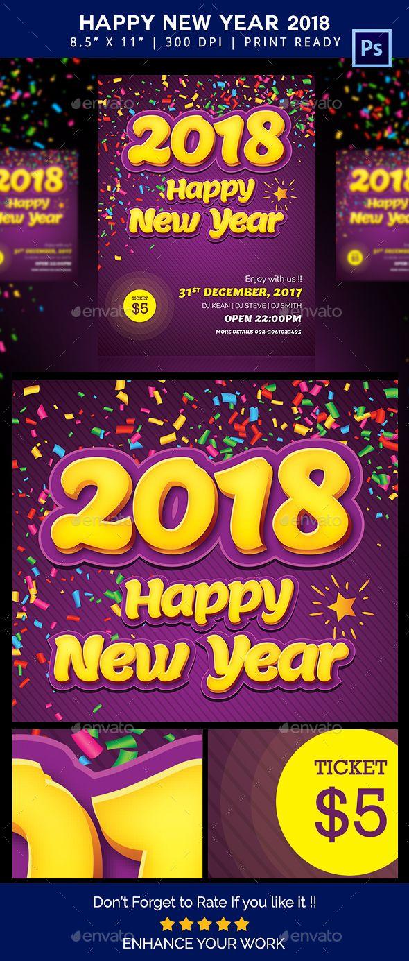 #Happy #New Year #Flyer 2018 - Flyers Print Templates