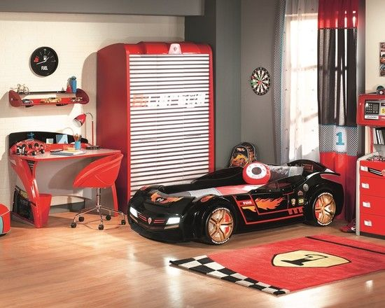 Lovely Bedroom, Appealing Modern Kids Bedroom With Black And Red Car Furniture Set  Decoration Ideas: