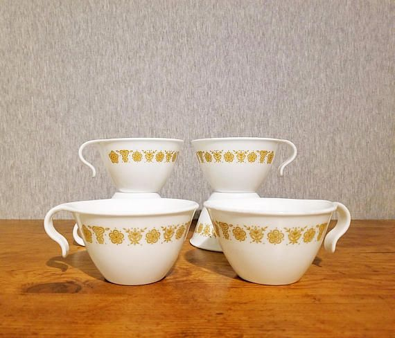 Vintage Corelle set of 6 coffee mugs Butterfly Gold cups with