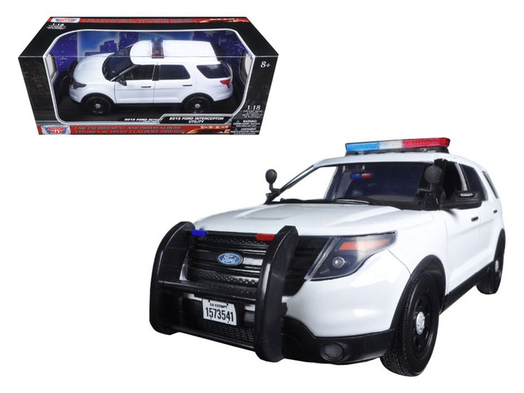 2015 Ford PI Utility Interceptor Plain White Police Car with Light Bar 1/18 Diecast Model Car by Motormax - Brand new 1:18 scale diecast model of 2015 Ford PI Utility Interceptor Plain White Police Car with Light Bar die cast model car by Motormax. Has steerable wheels. Brand new box. Rubber tires. Has opening doors. Made of diecast with some plastic parts. Detailed interior, exterior, engine compartment. Dimensions approximately L-10.5, W-4, H-4 inches. Please note that manufacturer may…