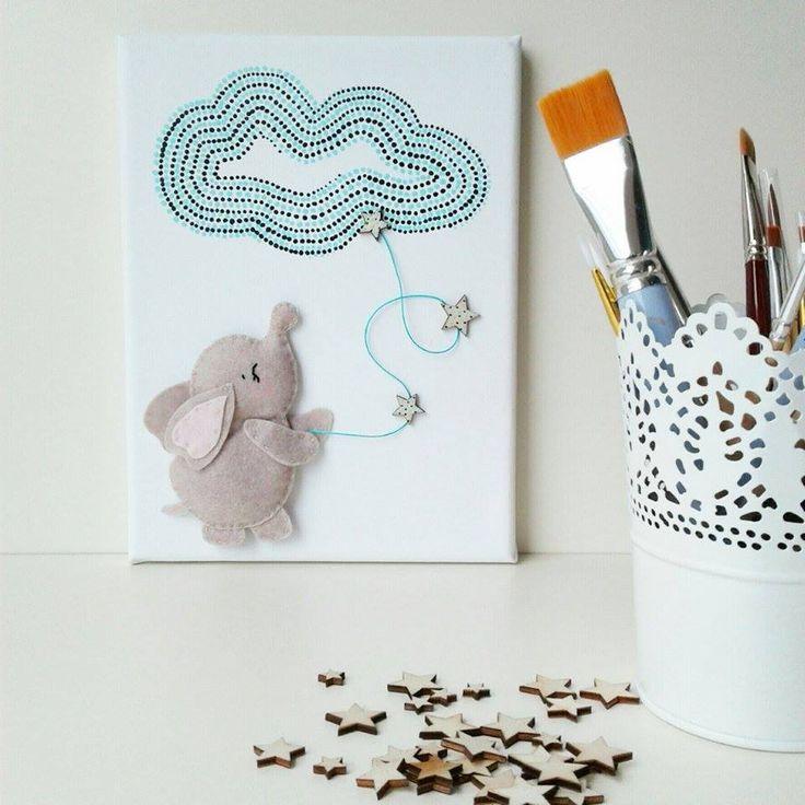 quadro 3D con elefante in pannolencio per la cameretta dei bambini : Decorazioni per camerette bambini di feltri-amo