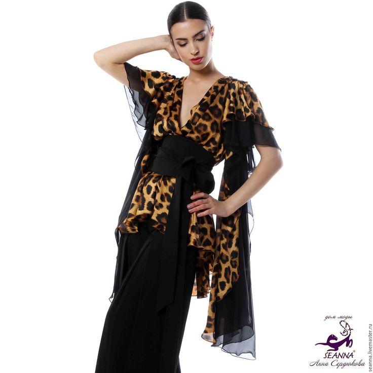 """Купить Туника-блузка """"Леопардовый идеал"""", скрывает животик, пояс в подарок! - бежевый, блузка, туника"""
