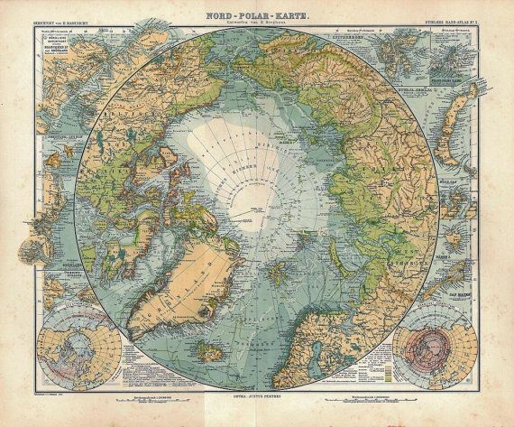 North Pole Antique Map Arctic Sea Exploring at CarambasVintage
