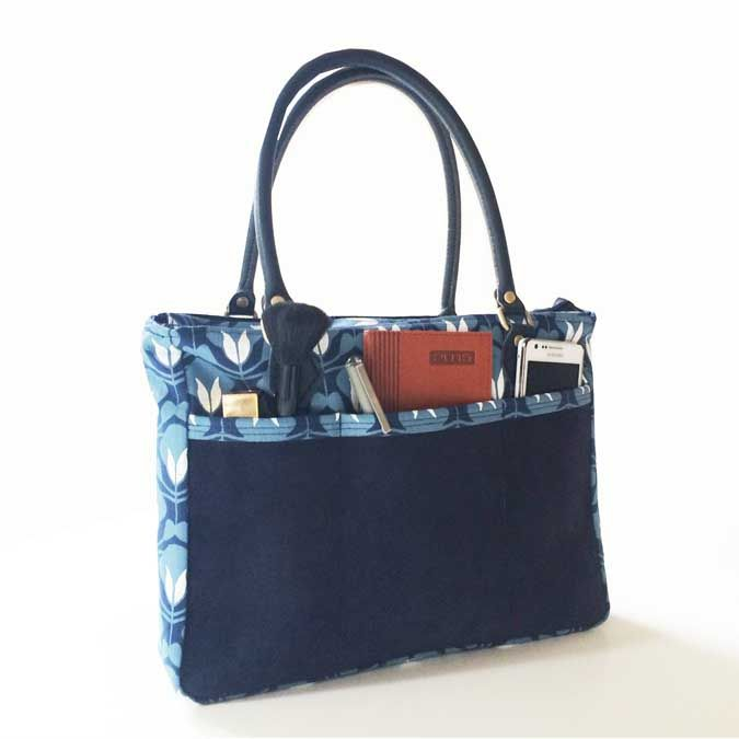 SQ Travel companion Tulip nouveau in Winter blue & Arctic white with Midnight navy Suede leather & Suitcase leather straps  www.suziequ.co.uk