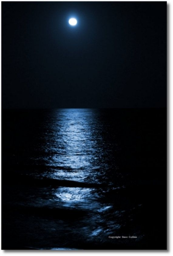 Blue Moom Print on Photo Paper or Canvas - Fine Art Photograph of Moon over the Ocean -  Beach Picture - Available in Many Sizes - Wall Art by dcphotoimages on Etsy