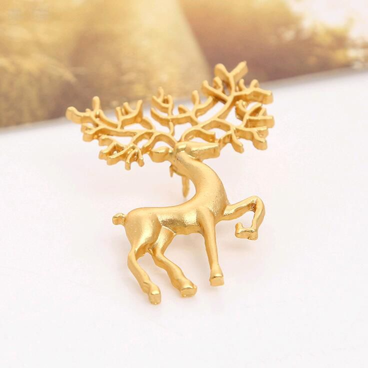 2016 new fashion dreams Oz frosted matte gold collar pin brooch elk art Free shipping
