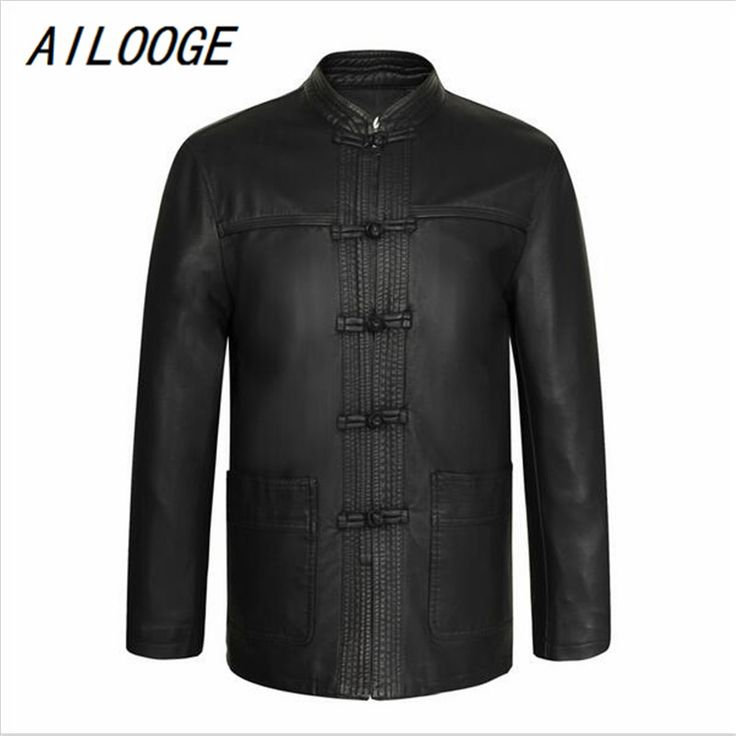 AILOOGE Chinese Vintage Style Mens Black Ethnic Tang Suit Soft Leather Jackets With Stand Mandarin Collar Fur Overcoats For Man