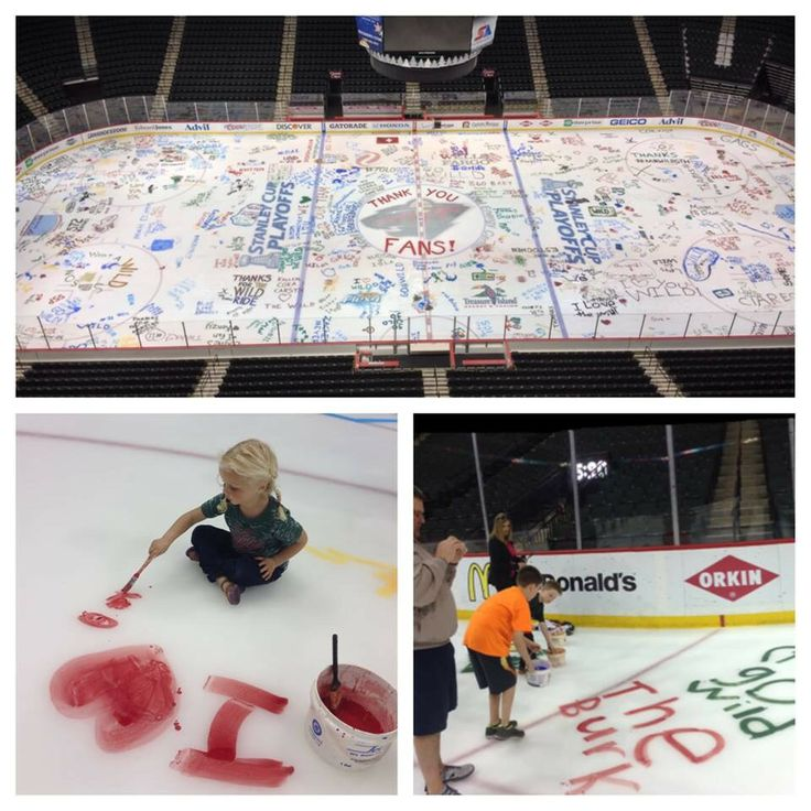 The #Wild let their season ticket holders paint the ice at the Xcel Energy Center after their playoff run ended [May 22, 2014]
