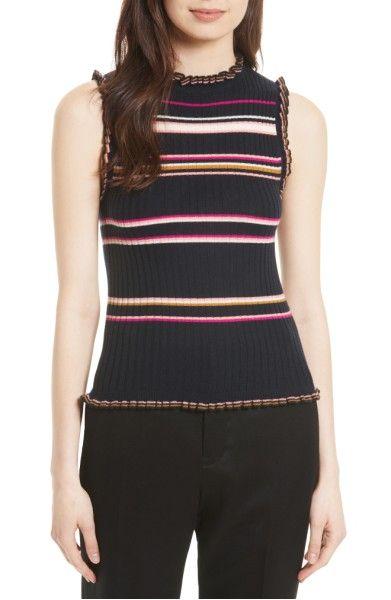 Main Image - Rebecca Taylor Stripe Rib Knit Tank