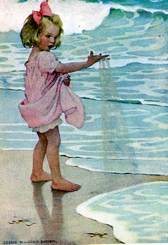 Illustration by Jessie Wilcox SmithLittle Girls, Vintage Illustrations, Wilcox Smith, Jesse Wilcox, Jessie Wilcox, Children Illustrations Vintage, Children Book Illustrations, Vintage Book Illustrations, Beaches Children Paintings