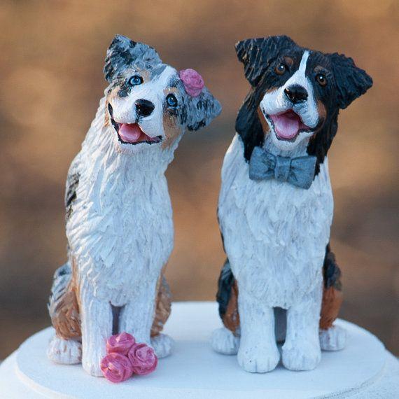Australian Shepherd Wedding Cake Topper