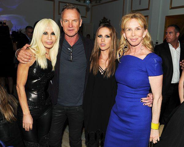 Versace Celebrates SoHo Store Opening - Donatella Versace, Sting, Allegra Versace, and Trudie Styler